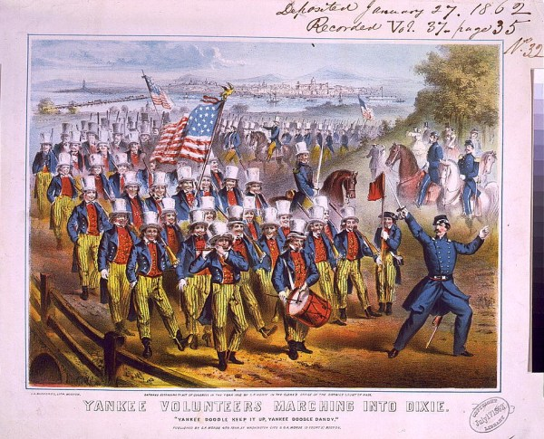 """Yankee volunteers marching into Dixie / J.H. Bufford's lith., Boston."" (1862 lithograph) [LOC.gov]"